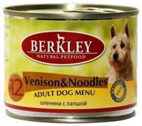 BERKLEY Беркли консервы д/собак №12 Оленина с лапшой 200г