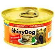 Gimpet Джимпет  ShinyDog консервы д/собак Цыпленок с Говядиной 85г