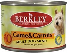 BERKLEY Беркли  консервы д/собак №10 Дичь с морковью 200г
