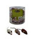 Игрушка для кошек Мышонок с погремушкой, сизаль, 5см (Brown/gold mice) 240039