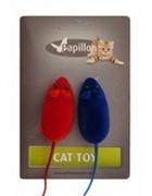 Игрушка мышка, вельвет, 6см, (Cat toy 2 velvet mice on card) 240013