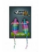 Игрушка разноцветная мышка, 7см (Cat toy 2 coloured mice on card) 240007